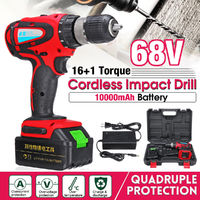 68V 1000mAh Cordless Rechargeable Electric Drill 2 Speed Heavy Duty Torque Power Drills