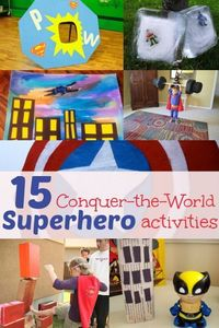 It's time for some superhero fun! 15 superhero activities for kids to feel like they can conquer the world! Kids love superheroes. What's not to love?