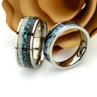 His And Hers Titanium Wedding Band Set, 8mm 6mm, Turquoise Inlay Imitated Meteorite Inlay Titanium Promise Ring Set Titanium Ring For Couple $180.00