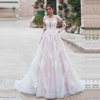 Hot Scoop Neck Long Sleeve A-Line Wedding Dress Luxury Appliques Court Train Vintage Bridal Gown $658.54