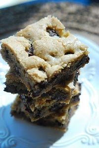 Choclate Chip Cookie Bars (only 10 minutes to prep). I just made these, my family couldn't wait to have a taste. Tastes like warm cookie dough!