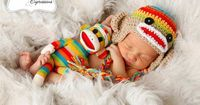 Rainbow & Tan Sock Monkey Earflap Hat with by karlyskloset on Etsy, $35.00; Photo by: Diana's Photo Expressions
