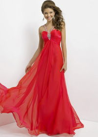Red Long Jeweled Straps Open Back Blush 9749 Pleated Evening Gown