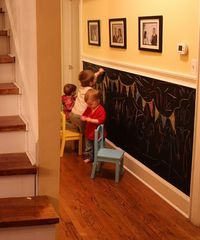 Chalkboard wall. I have two of these and they have been in my home for ten years! The kids LOVED LOVED LOVED it. The one in the kitchen was for family notes. The one in their play area is huge. And chalk is easily removed from other things (like carpe...
