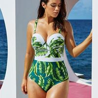 Leaf Print Plus Size One Piece Monokini Underwire Swimsuits FREE shipping $32.99