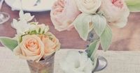 For a rustic look, create mini flower arrangements in vintage cups | Kelly Oshiro Design