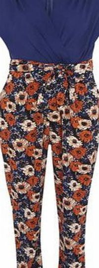 Dorothy Perkins Womens Izabel London Multi Blue Floral Jumpsuit- Multi blue floral wrap front jumpsuit. V neckline. Sleeveless. Zip fastening. Length 140cm. 100% Polyester. Cold hand wash. Dry cleanable. http://www.comparestoreprices.co.uk/womens-shoe...
