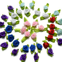 Pack of 100 Assorted Colours Ribbon Flowers. 13mm Fabric Rose Appliques for Xmas Crafts £5.99