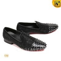 Haute Couture | Men Black Leather Studded Dress Loafers CW719101 | CWMALLS.COM