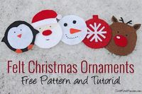 Free pattern and tutorial to make this adorable set of felt coasters or ornaments