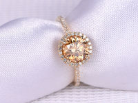 1CT YELLOW MOISSANITE AND DIAMOND ENGAGEMENT RING 14K YELLOW GOLD HALO 6.5MM ROUND CUT GEMS STACKING RING