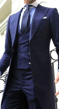 Navy Blue Double Breasted Long Tail Coat Wedding Suits $233.99