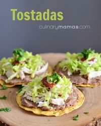 Recipe for tostadas with UNBELIEVABLY good refried beans and red sauce that will elevate all your Mexican cooking. #culinarymamas