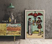 Two of Cups- Tarot Card Print - The 2 of Cups Card Poster, No Frame $15.00