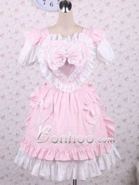 White And Pink Lace Big Bow Cotton Sweet Lolita Suit