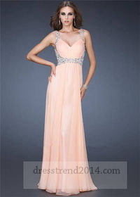 Apricot Beaded Open Back Prom Dress With Straps