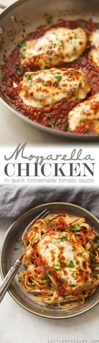 30 minute recipe for homemade mozzarella chicken in a quick and easy tomato sauce. Pan seared chicken breasts topped with mozzarella and homemade sauce.
