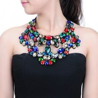 Fashion Jewelry Chain Cluster Glass Chunky Choker Statement Pendant Bib Necklace