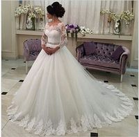 $137�ŒLace tulle ball gown long sleeve lace wedding dress 2016 applique bridal dress vestido de noiva beaded sash manga longa