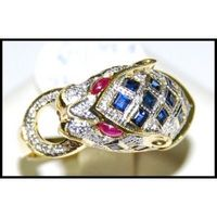 Cocktail Diamond Multi Gemstone Tiger Ring 18K Yellow Gold [RF0005]