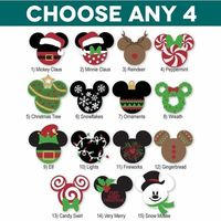 Mickey Heads: Christmas Die Cuts - YOU MUST MAKE A SELECTION FOR ALL 4 OPTIONS! Check out these Christmas themed Mickey Heads. Choose any 4 from the dropdown m�€�