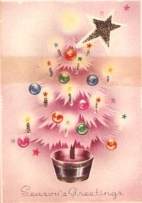 Season's pretty pink greetings....!!! Bebe'!!! Love this cute pink vintage Christmas card!!! From the fifties and sixties, the mid-century style of seasonal cards!!!