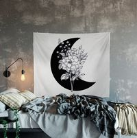 Moon Flowers Sketch Black and White Wall Hanging For Meditation $30.00