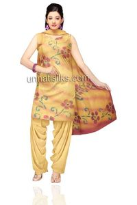 Unstitched party mustard yellow art pashmina silk salwar suit