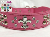 Fleur-de-lis Dog Collar with Crystals and Studs | Mardi Gras Dog Collars | Pink Leather Dog Collars $59.99