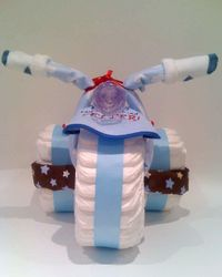 Diaper Bike :-) This would be cute for a little boy's shower...