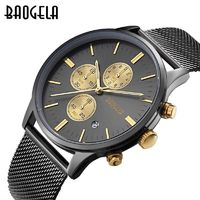 Men's Watches Fashion Sports quartz-watch stainless steel mesh Brand men Wristwatch Chronograph $57.09