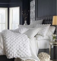 The color paint you choose when decorating sets the mood for the room. If you want to be daring, I love a dark gray for the bedroom paint color. Grays are soothing, and calming... a perfect atmosphere to unwind from the day. Love this!!