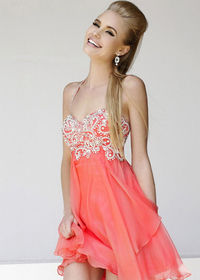 2014 Coral Halter Neck Beaded Layered Short Prom Dress