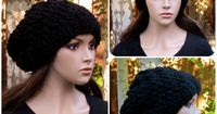Knitted Oversized Swirl Beanie by JKnitsBoutique, $34.99 Keep your head warm with this adorable oversized beanie! This is hand knitted with a super chunky wool blend yarn, in a smoke free home. Simple with a subtle swirl pattern that goes great with anyth...