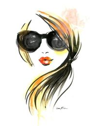 Fashion illustration art print - Girl in Sunglasses. $18.00, via Etsy.