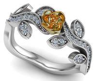 18K Leaves Ring White gold with Yellow gold flower Diamonds on leaf Anniversary Gift $853.00