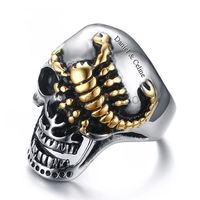 Gullei.com Personalized Scorpion Skull Mens Ring 30mm Stainless Steel