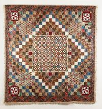 Maker:UNKNOWNDate:1820 - 1850 Patchwork coverlet made from furnishing printed cottons, with a pieced circle and lattice centre square, square patches in a 'Trip around the world' variation design and corner squares of hexagons and diamond stars. T...