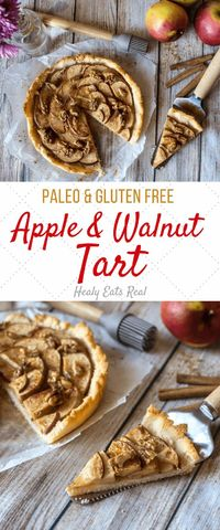 This apple tart with walnuts in the perfect marriage of tart and sweet. This paleo and gluten free treat has few sweeteners yet still works as dessert!