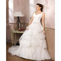 Simple Ball Gown Straps Buttons Lace Ruching Sweep/Brush Train Tulle Wedding Dresses - Dressesular.com
