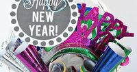 This New Year's Eve Gift Basket is a fun gift to take to those New Year's Parties!