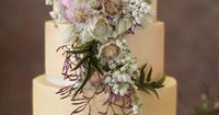 Cake love: a sophisticated pale peach wedding cake with lilac jasmine tendrils for a natural touch