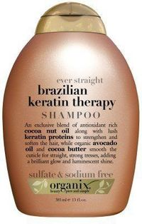 Organix Ever Straight Brazilian Keratin Therapy ... This is amazing is you are a Flat-Iron Addict!! I can easily comb through my long damaged hair after using this product even if I skip conditioner. $8 at Ulta, Target or drug store