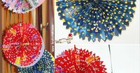 Holiday decorations from wrapping paper and a hole punch! Cute colorful variation on white snowflakes.