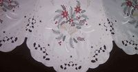 Christmas on White with Bells and Poinsettias Embroidered Tree Skirt or Table Topper
