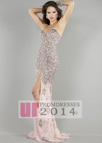 Online 2014 Beaded Pink Bridesmaid Dress on Big Discount