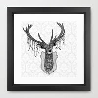 Ink and Pencil drawing of a mounted deer head with ornate patterns.