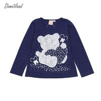 2017 Fashion spring brand Baby wear Girl Clothes Bear Long Sleeve Cartoon Rhinestone Cute T-Shirts Basic Cotton Knit T-Shirts $6.68