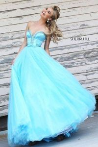 Aqua Beaded Sherri Hill 21367 Ball Gown Prom Dresses 2015
