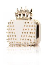 White Leather Studded Knuckle Duster Box Bag